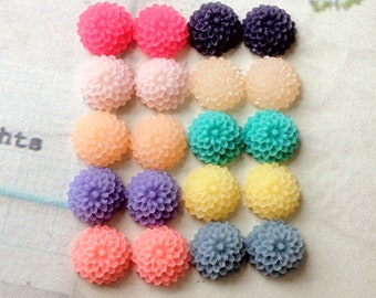 10 Pairs of 9 mm Little Resin Dahlia Flower Cabochon of Assorted Colour (.tu)
