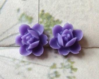 12 mm Lavender Color Orchid Resin Flower Cabochons  (..tu)