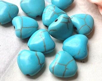 9 x 10 mm Heart Shape Turquoise Stone Bead (.hm)