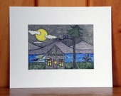 ORIGINAL COLORED PENCIL Camp Art, Folk Art Drawing, Full Moon Starry Night at Camp, Owls, Loon