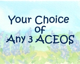 YOUR CHOICE of Three Original Art ACEOs  - Any Colored Pencil, Watercolor, or Mixed Media on Paper Artist Trading Cards