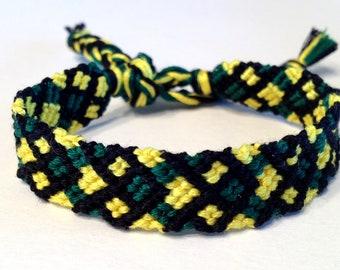 Jamaican Crossing Chevrons - Green, Yellow & Black - Friendship Bracelet