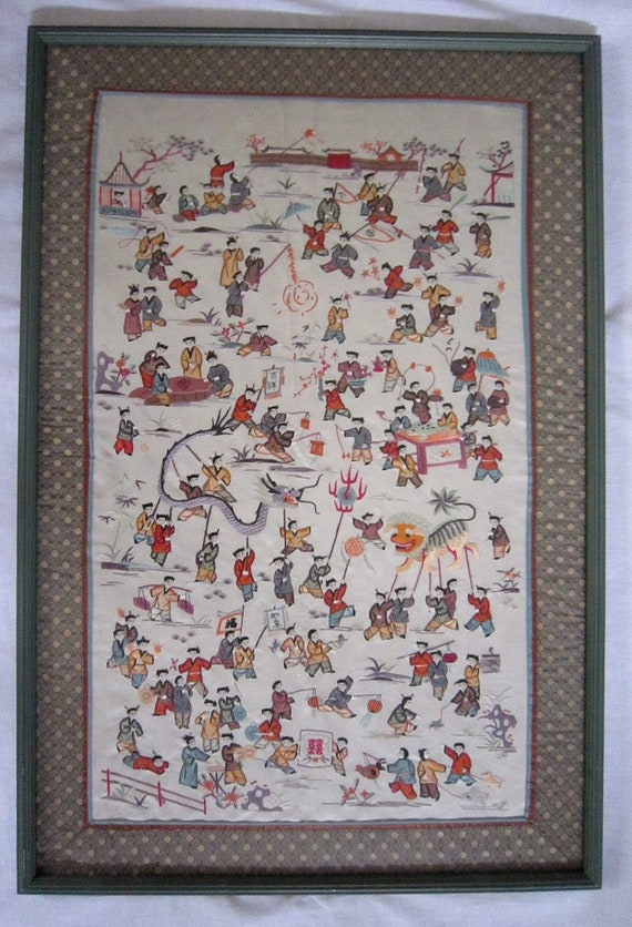 Framed chinese silk embroidery children