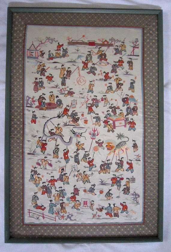Framed Chinese Silk Embroidery 100 Children By Floridafound