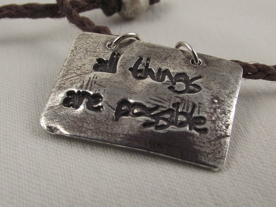"999 Silver Necklace ""All Things are Possible"" with Brown Hemp Cord by 13penguins"