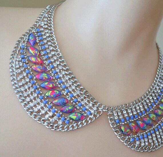 neon rhinestone collar necklace Blue Swirl