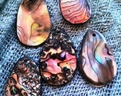 MADE TO ORDER - Hand crafted tear drop pendants from the Red Abalone shell of northern California.