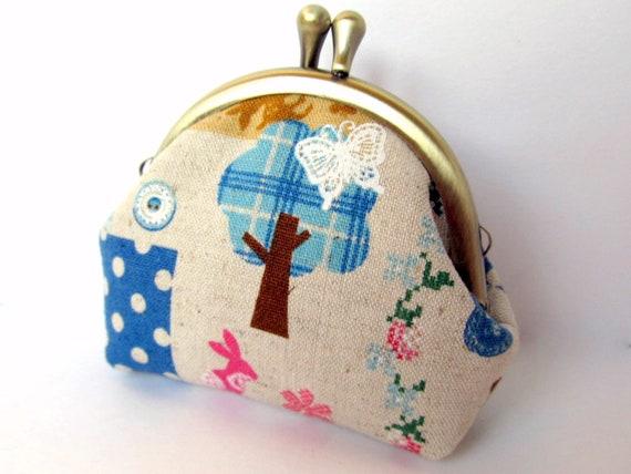 Small Coin purse Kawaii Neutral Turquoise blue Woodland Patchwork Zakka Clasp Kiss lock Change purse Frame purse