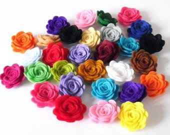 Felt Flower. 10 pieces. ONE COLOR for package. Die Cut Shapes, Applique, Party Supply, DIY Wedding