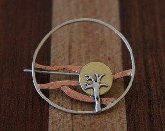 Hand Crafted Mixed Metal Tree Brooch