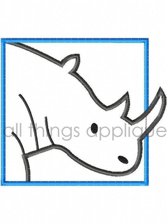 Rhino Patch - Machine Embroidery Applique Design - INSTANT DOWNLOAD