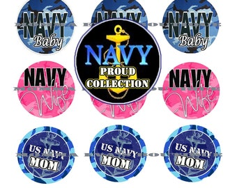 Momma Eva's -- INSTANT DOWNLOAD / Navy Proud Inspired Collection / 4 x 6  / 1 in Circles /  Bottle Caps Scrapbooking Hair Bows