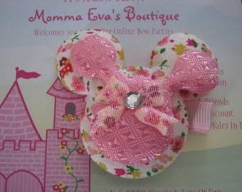 Momma Eva's --  Large Floral Pink Minnie Ears Inspired Hair Clippie Design W/ Clear Rhinestone Accent // Layered Style // Ready To Ship