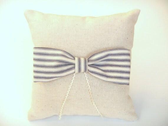 Seersucker Striped Bow  Ring Bearer Pillow