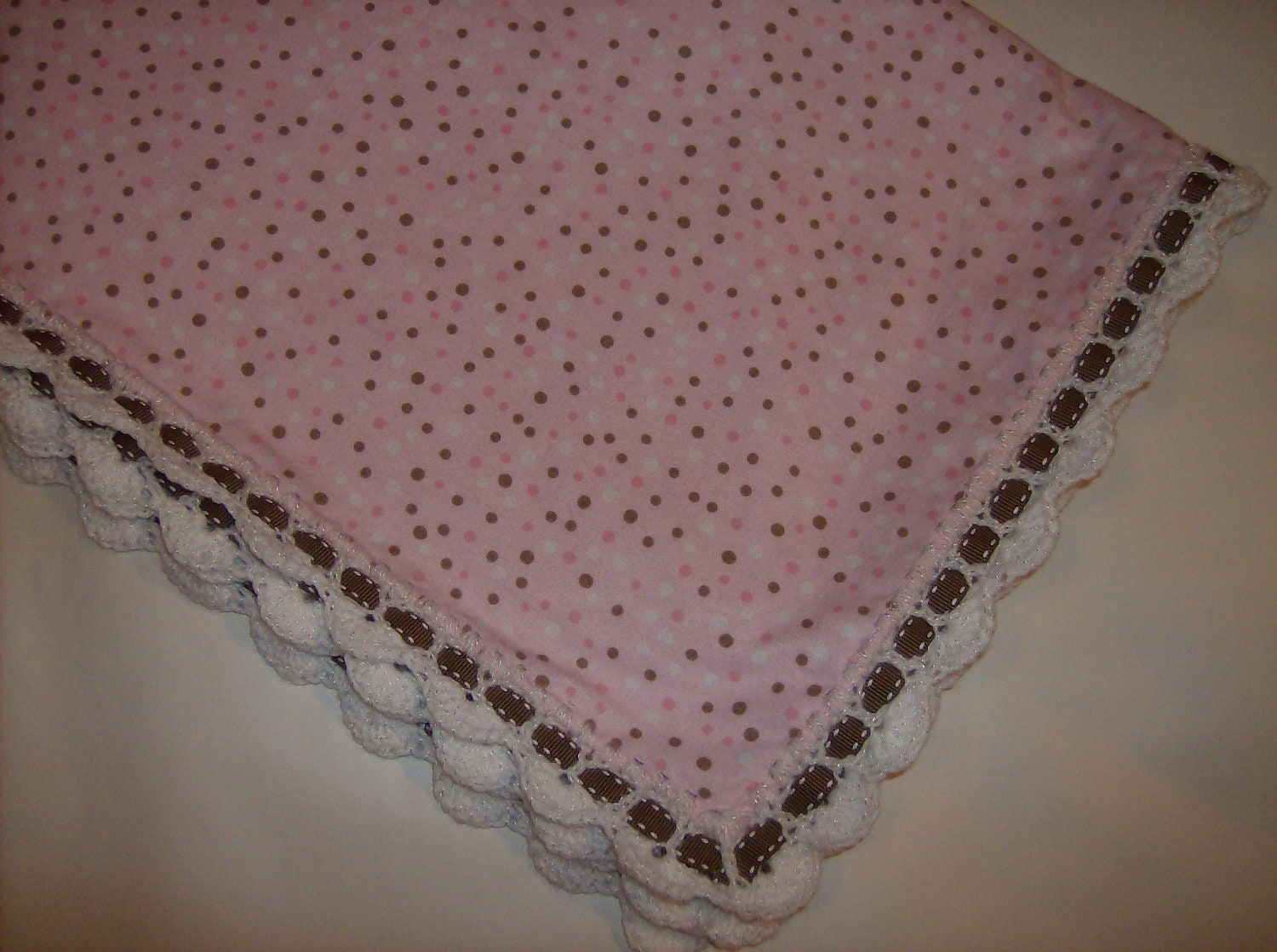 Pink Flannel Baby Blanket with Crochet Edging by sherrywilsew