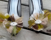 Wedding Shoe Clips, Camouflage Feather Shoe Clips, Bridal Shoe Clips, Army Green Shoe Clips, Shoe Clips for Wedding Shoes Bridal Shoes