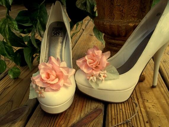 Peach Satin Rose Shoe Clips - set of 2 - mint green leaves, bridal shoe clips, flower shoe clips, wedding shoe clips