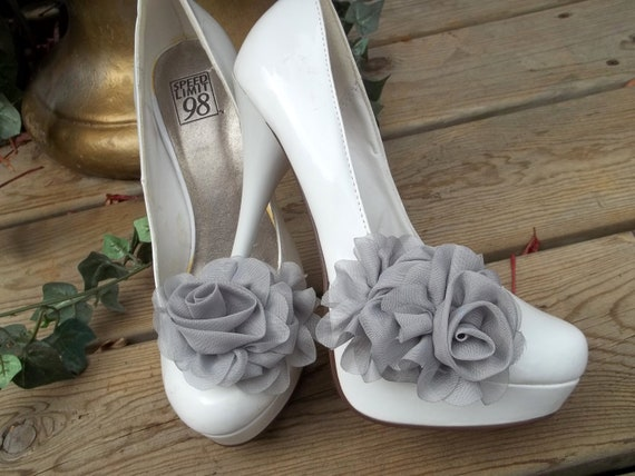 Wedding Bridal Shoe Clips - Gray Chiffon flowers- set of 2-  Womens Shoe Clips, Prom, Party