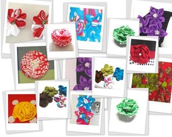 Fabric Flower Tutorial Bundle, INSTANT DOWNLOAD, Five Flower Pattern, pdf pattern