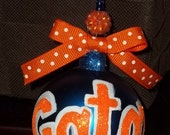 Hand Painted University of Florida Gators Christmas Ornament UF orange blue college football Gator Fan