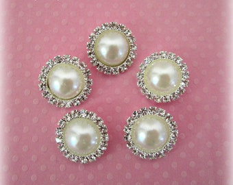 Ivory Pearl Buttons with Rhinestones. QTY: Set of 3 Buttons.