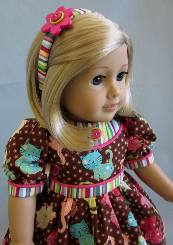 American Girl Doll Clothes - Kitten  Print Dress, Headband and Shoes