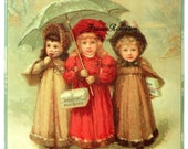 Large Antique French Ad Digital Download Victorian Little Girls, Chocolate Poster Photo ATC Aceo High Resolution 300dpi Print 110P