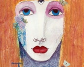 "RETIREMENT SALE - Inspirational Fine Art Print - ""Imagine"" - 8"" x 12"" Colorful Fairytale Woman, Affirmation Art, Child's Room Nursery Decor"