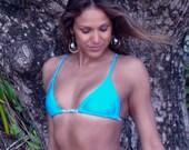 Cross Back Braid Slide Bikini Top Turquoise, Sky Blue, White