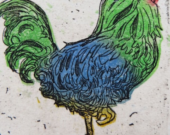 A collaborative print: Rooster