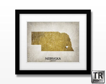 Nebraska State Map Artwork Print - Original Custom Map Art Print Available in Multiple Size and Color Options