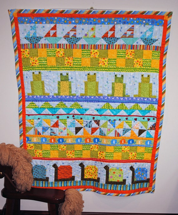 Flannel baby quilt, pieced, Snips and Snails