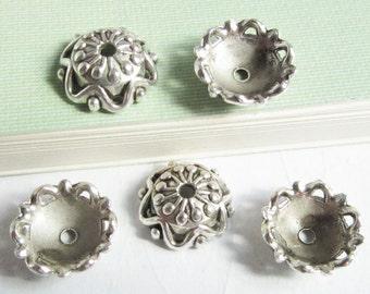 Silver Bead Caps -30pcs Antique Silver Flower End Cap Charms 12mm Tibetan AA508-2
