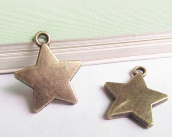 Star Charms -15pcs Antique Bronze Star Charm Pendants 16mm Double Sided B305-3