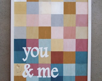 "Reclaimed Wood ""You & Me"" Hand Painted Mosaic Style Sign"