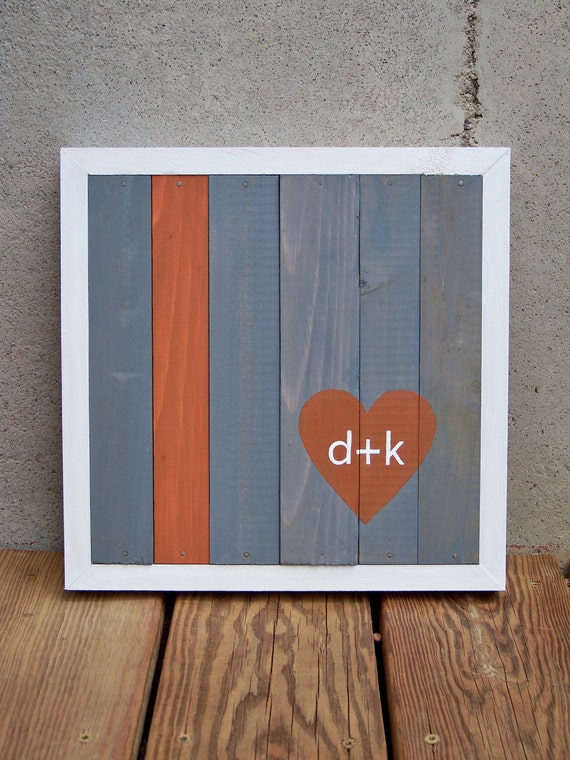 MADE TO ORDER Reclaimed Wood Custom Heart with Initials Painting