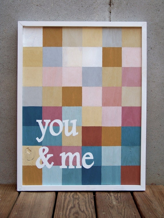 """Reclaimed Wood """"You & Me"""" Hand Painted Mosaic Style Sign"""