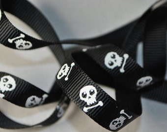 Skull and Bones Grosgrain - 3 yards, 3/8 inch wide