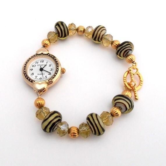 Lampwork Beaded Bracelet Watch, Brown Yellow Lamp Work  Jewelry,Chunky  Heart  Watch