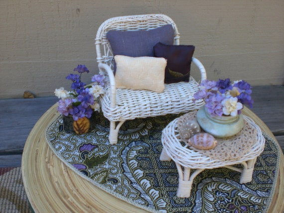 Barbie Doll House WHITE WICKER VIGNETTE Room Furniture & Accessories Chair Patio Coffee Table