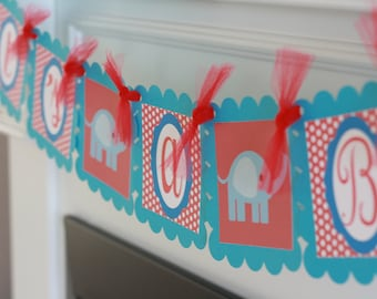 """Red Polka Dot and Blue Circus Elephant """"It's a Boy"""" or """"It's a Girl"""" Baby Shower Banner"""