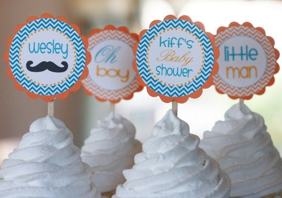 """12 - Little Man """"Oh Boy"""" Mustache Theme Baby Shower Chevron Cupcake or Cake Toppers - Ask About our Party Pack Sale"""