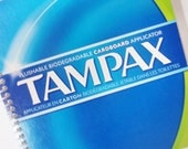 TAMPONS Feminine Hygeine UPCYCLED Journal Notebook spiral bound  TAMPAX- Blue, Green and White