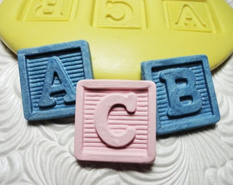 BABY  ABC Blocks Mold Mould Flexible Silicone Push Mold for Resin Wax Fondant Clay Fimo 3702