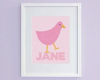 Personalized Girl's Nursery Art - Pink Bird Kids Wall Art