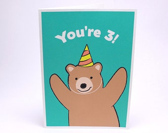 3rd Birthday Card - Kids Third Birthday Card - Bear