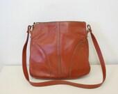 Vintage Leather Rust Hobo Bag - 1970s