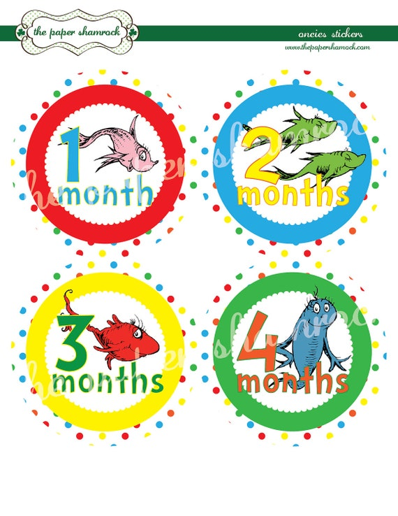 Dr. Seuss Monthly Onesies Stickers, Baby Stickers for Onesies, Month Stickers