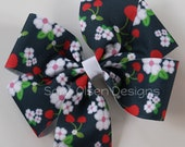 Extra Large M2MG Cherry Cute Hairbow Pinwheel Basic Boutique Hairbow with Navy Blue Red Green White, 4.5 Inch Bow