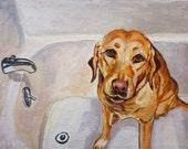 Yellow Dog Bath Time - 8x10 Fine Art Giclee Print